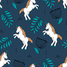 Load image into Gallery viewer, Navy Unicorn Dungarees