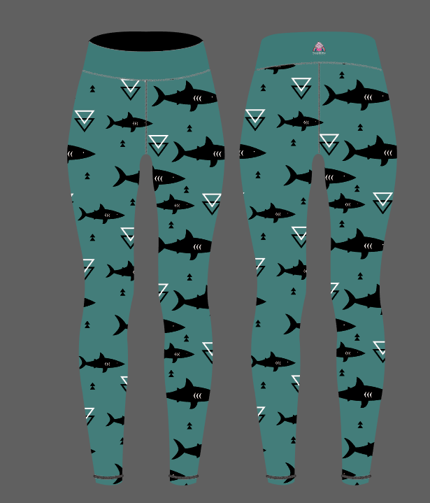 PREORDERS Geometric Shark Capri Women's Activewear Leggings