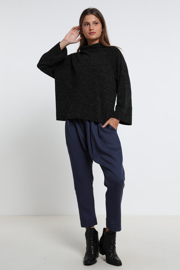 Elinor sweater melange black - layou-design