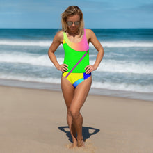 Load image into Gallery viewer, Green/Yellow One-Piece Swimsuit