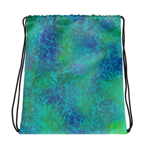 Blue Green Abstract Drawstring bag