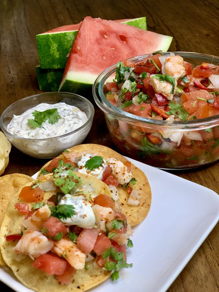 Spicy Watermelon & Shrimp Ceviche Street Tacos