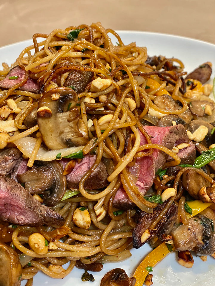 Thai Peanut Noodles with Vegetables and Seared Beef