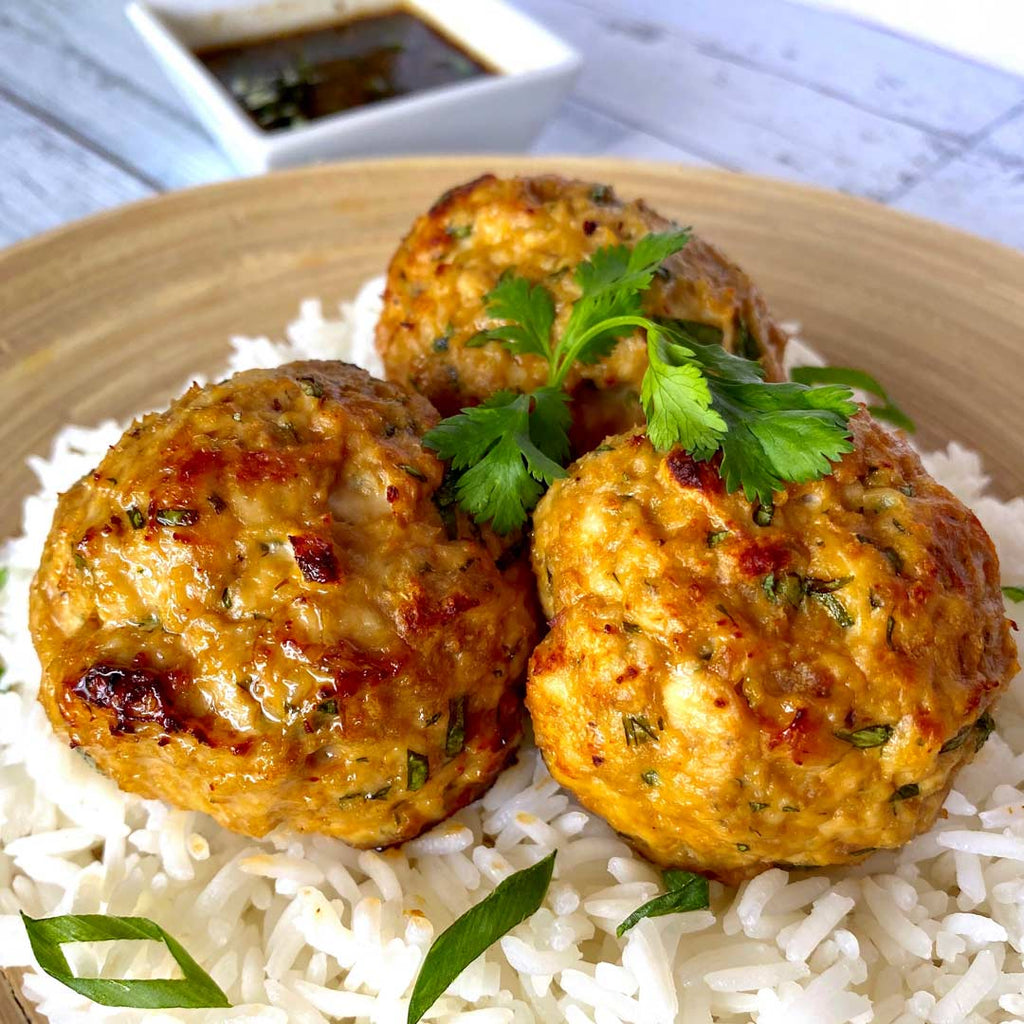 turkey meatballs served over rice