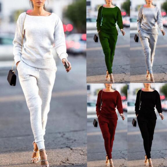 1 set = 2 pieces Autumn Winter Sport Suit Women Tracksuits Pullover Top Pant Running Set Jogging Suits Sweat Pants Sportswear Ch