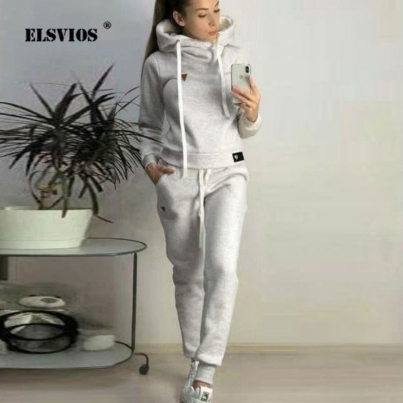 Autumn 2Pcs Women Tracksuit Hoodie Sweatshirt and Elastic Waist Pant Sets Winter Warm Pullover Sportswear Top Pocket