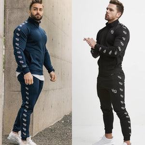 2 Pieces Autumn Running Tracksuit Men Sweatshirt Sports Set