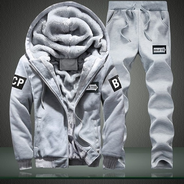 New Winter Tracksuits Men Set Thick Fleece Hoodies+Pants Suit Zipper Hooded Sweatshirt Sportswear Set Male Hoodie Sporting Suits