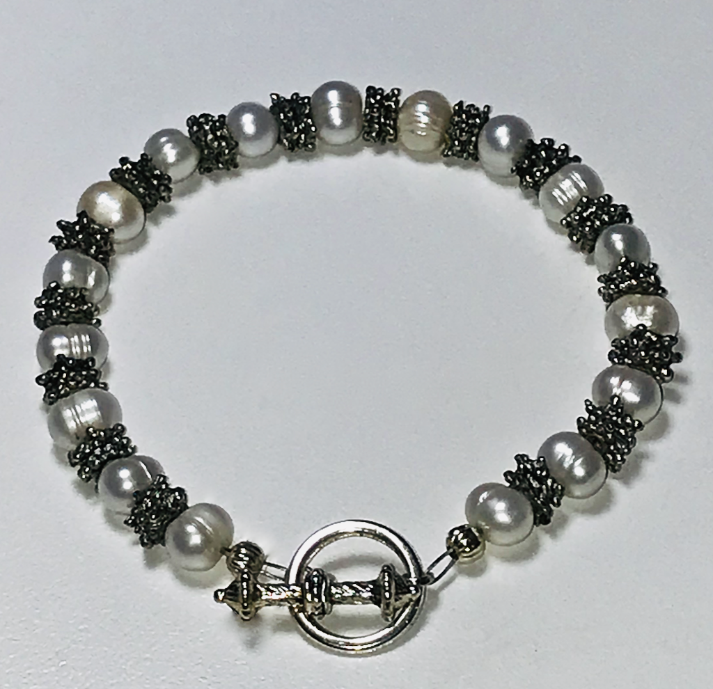 Large fresh water pearl bracelet with a toggle clasp