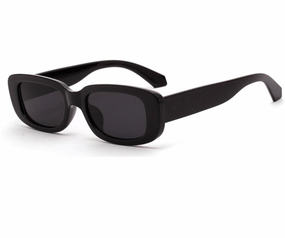 Retro rectangle sunglasses black leopard