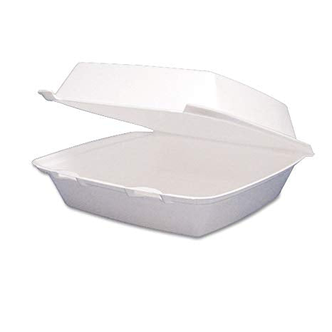 Large 1-Compartment Hinged Foam Container - Disposables-Gradys