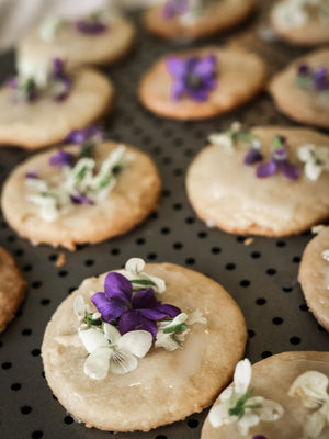 Foraged Violet Shortbread Cookies
