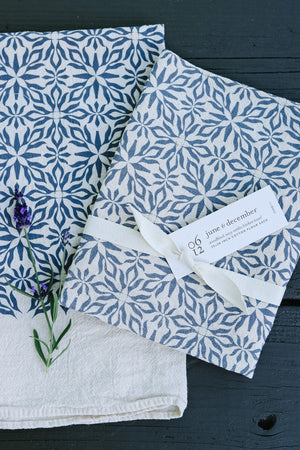 Navy Woodblock Nettles Towel | June & December