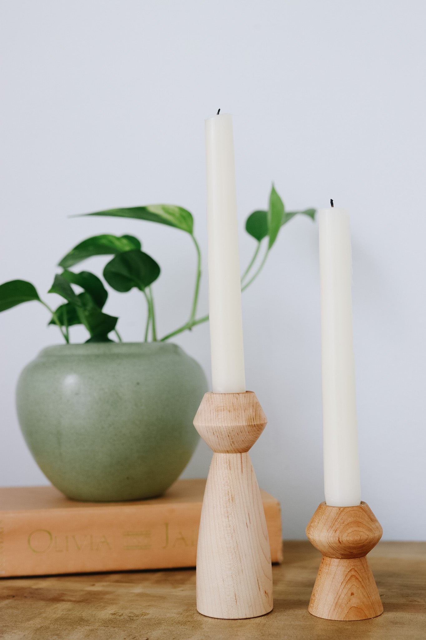 Modern Hand-turned Candle Sticks