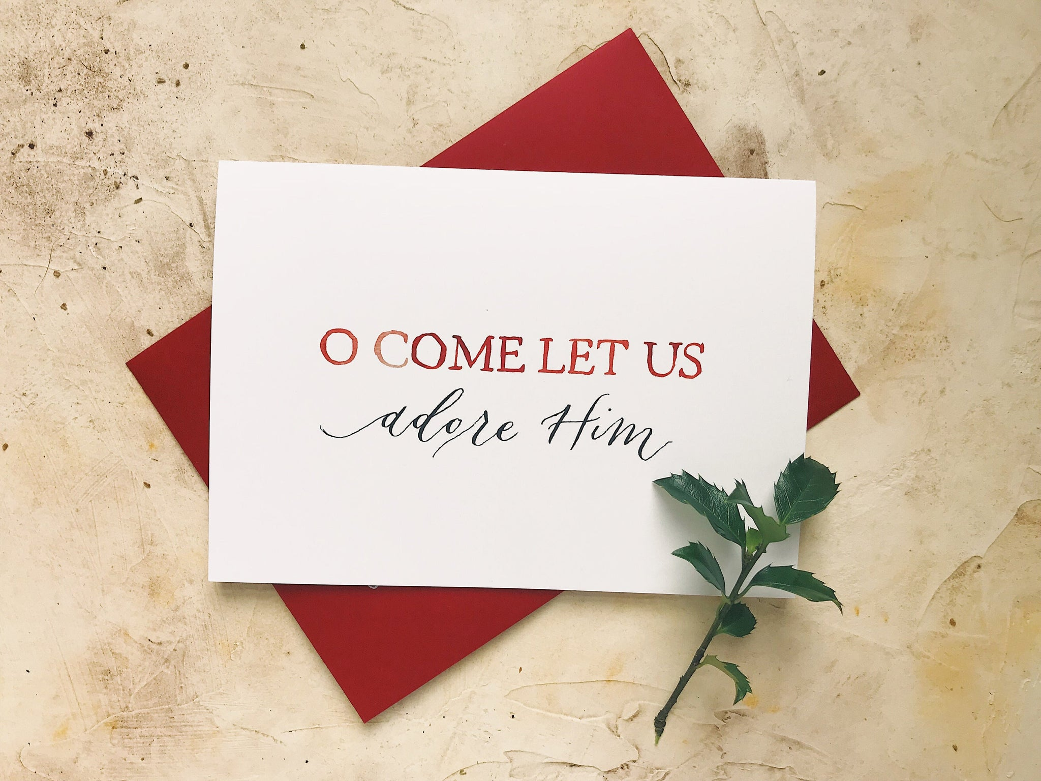 O Come Let Us Adore Him Christmas Card | Victoria Fiaretti