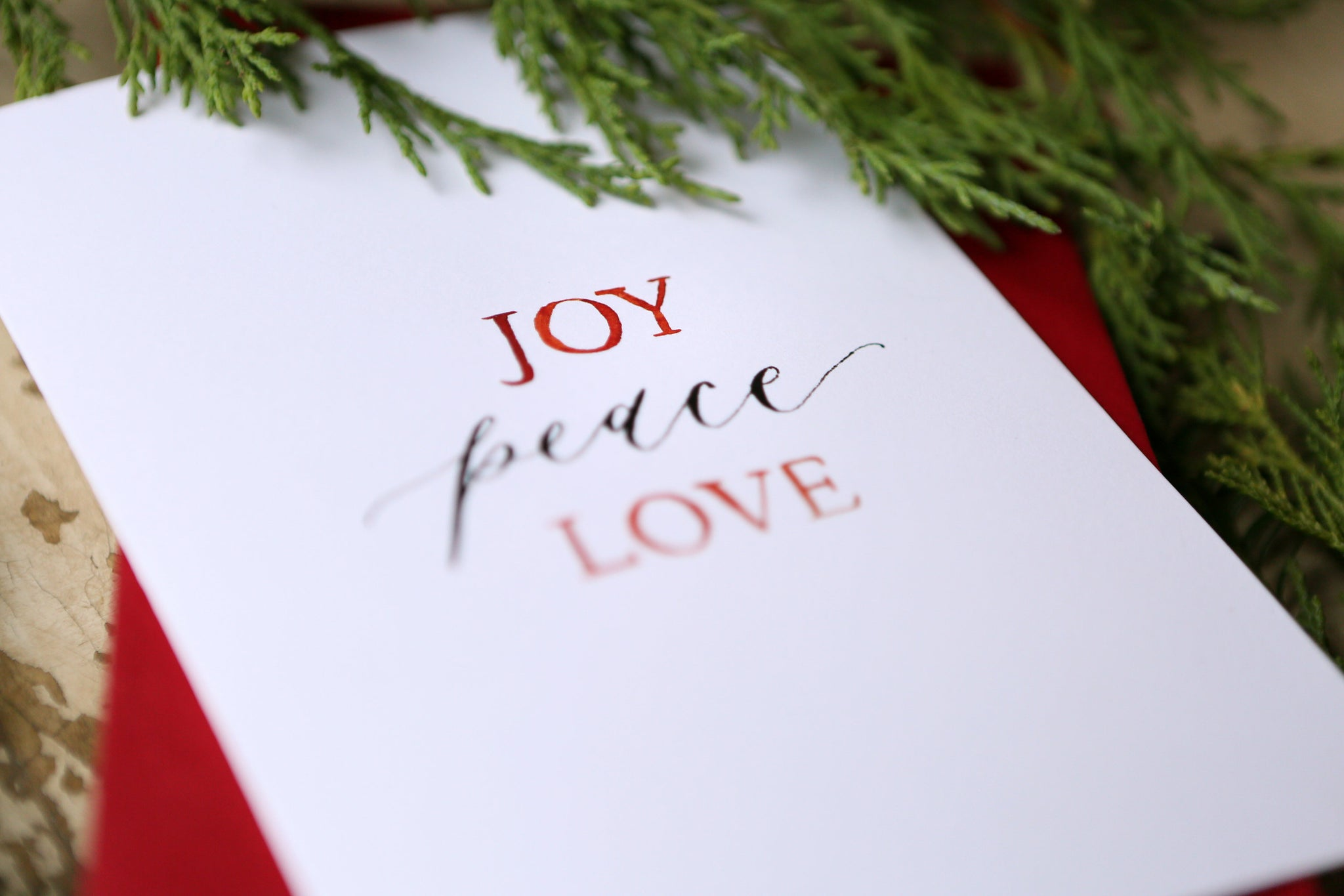 Joy Peace Love | Minimalist Christmas Card