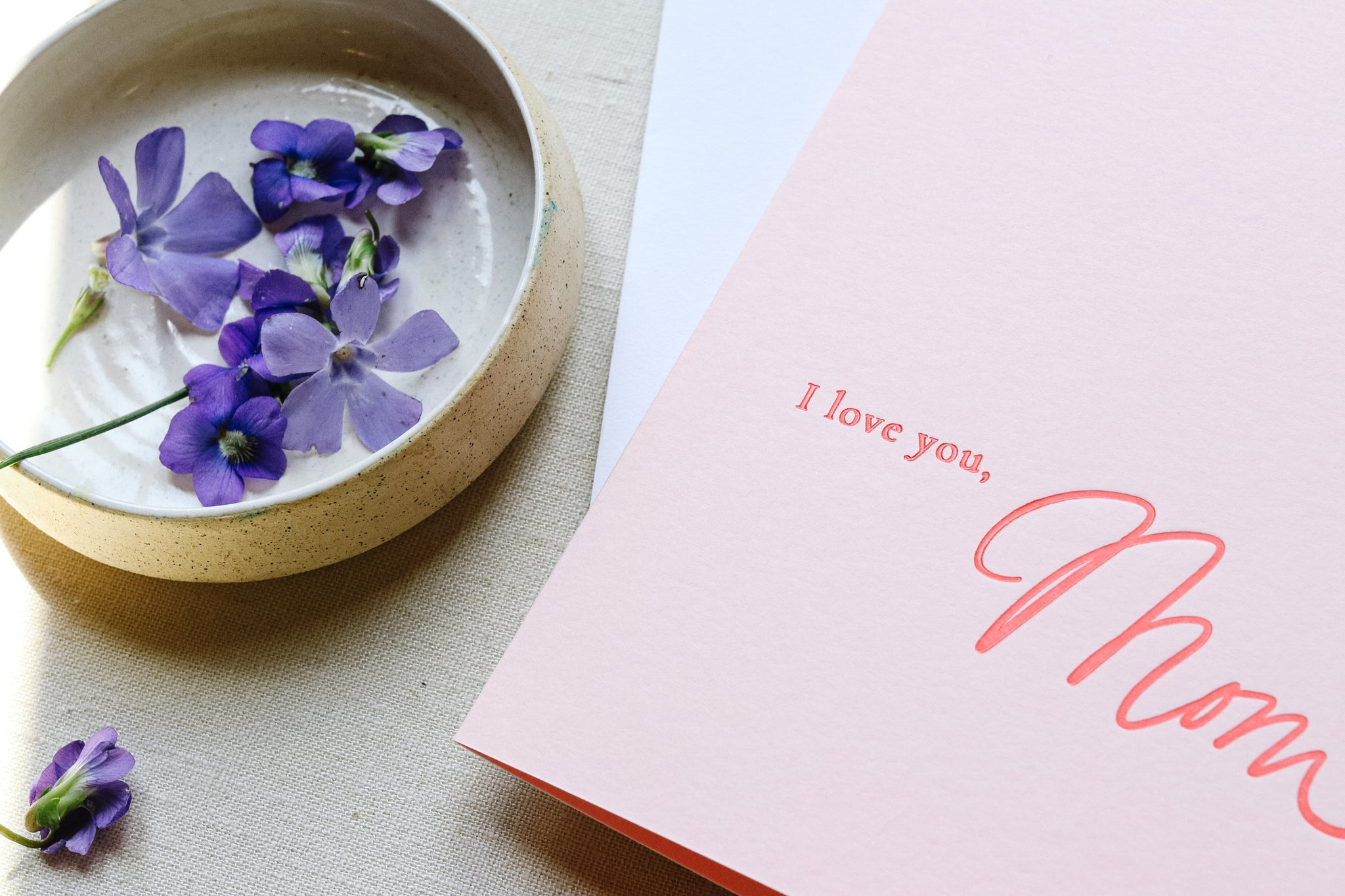 I love you, Mom - Letterpress Card