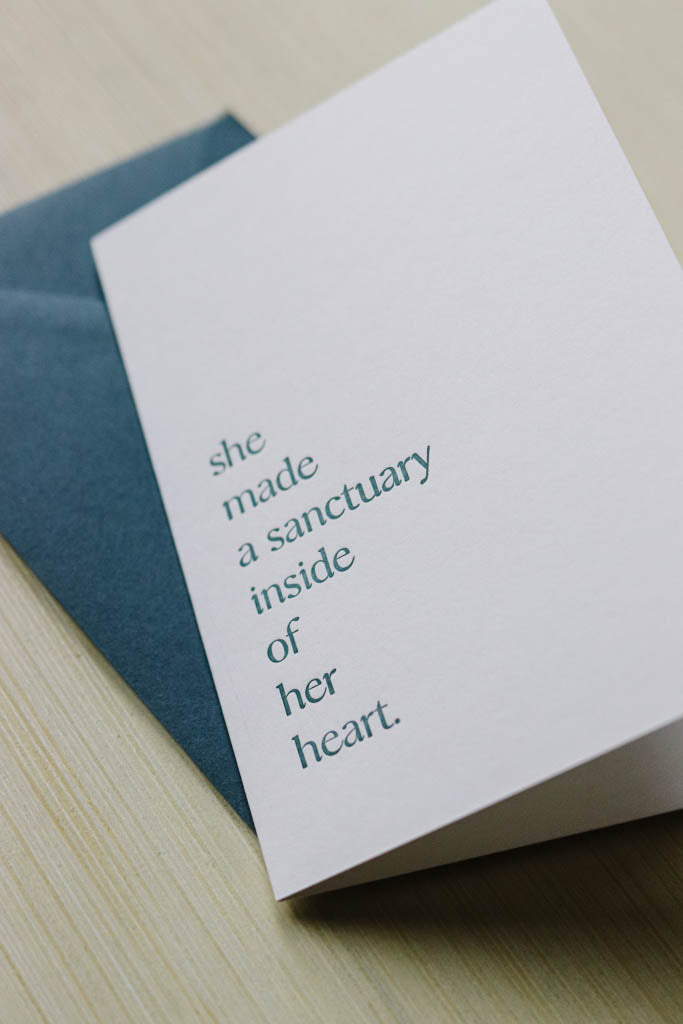 Sanctuary  |  letterpress card