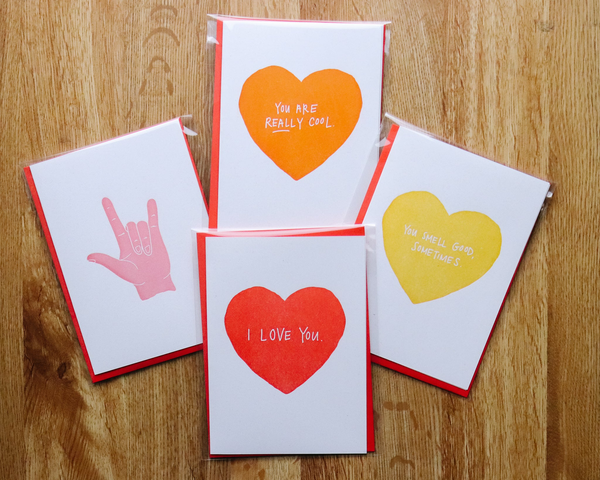 Funky Valentine's Card Pack - 8 cards