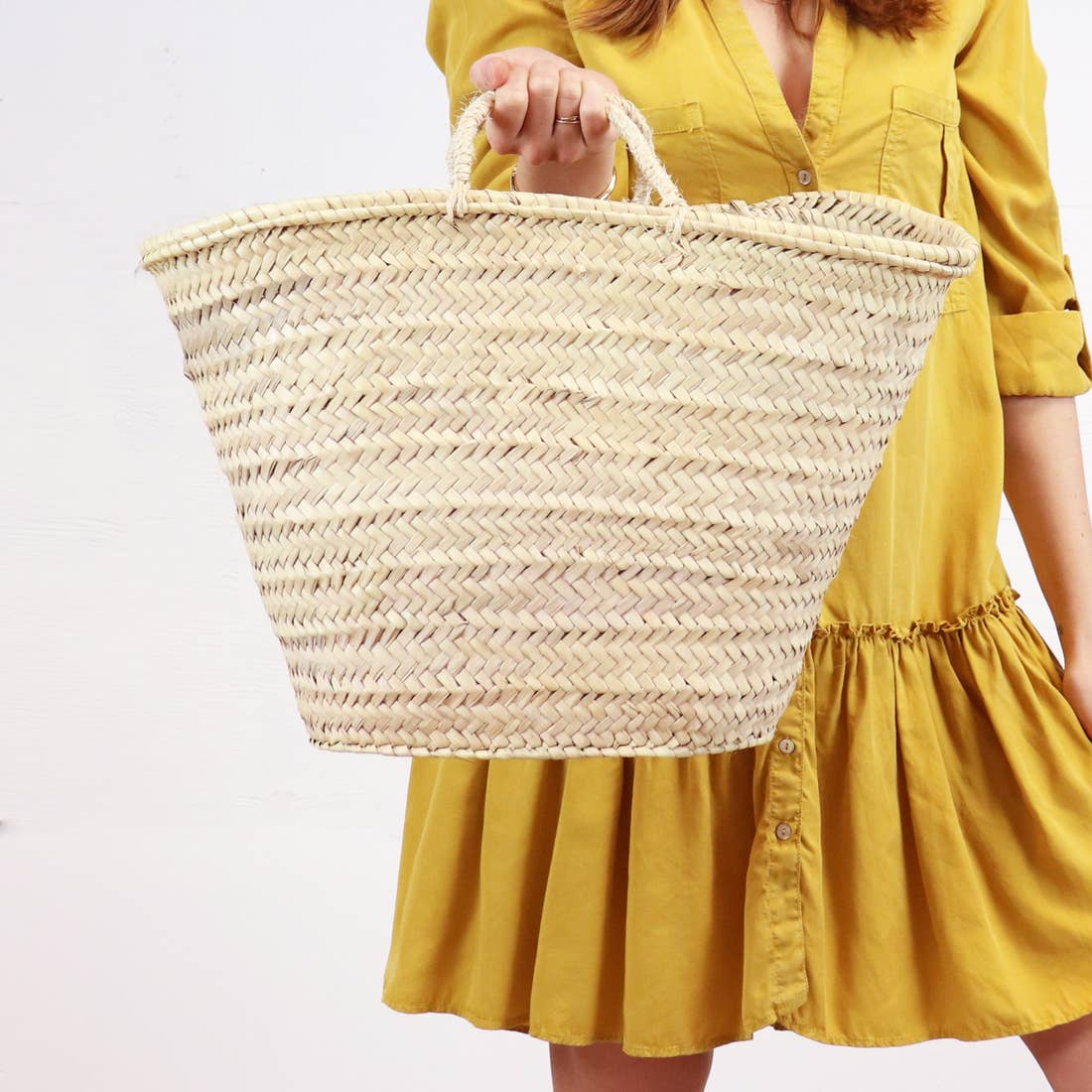 Venice Straw French Basket, Long Leather Handles