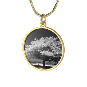 Single Loop Necklace - Black & White Tree