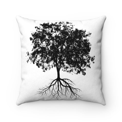 Faux Suede Square Pillow - Tree
