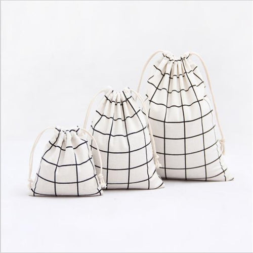 Cotton and Linen Lattice Beam Canvas Drawstring Bag Cosmetic Bag Travel Makeup Case Organizer Women Men Shoes Storage Pouch