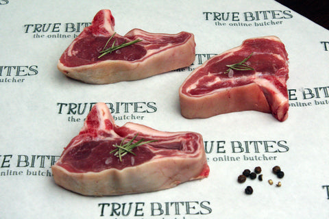 lamb loin chops pictured on true bites branded greaseproof paper