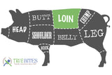 pork cutting diagram highlighting the loin