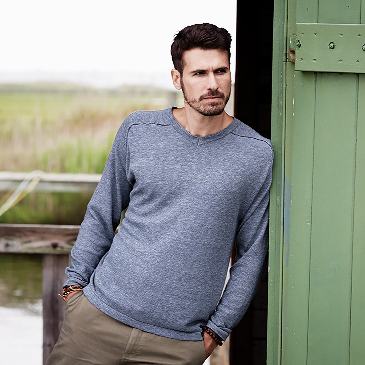 151388 - Weatherproof® Vintage Denim V-Neck Cotton Sweater