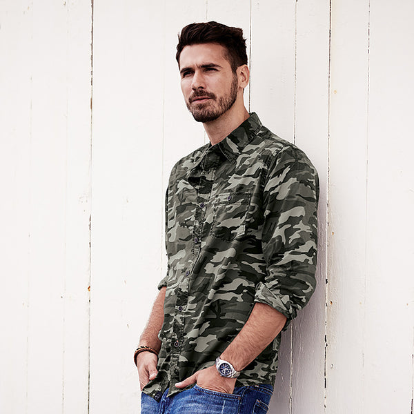 Weatherproof® Vintage Camo Long Sleeve Shirt