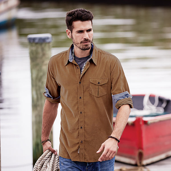 Weatherproof® Vintage Mini Cord Long Sleeve Shirt