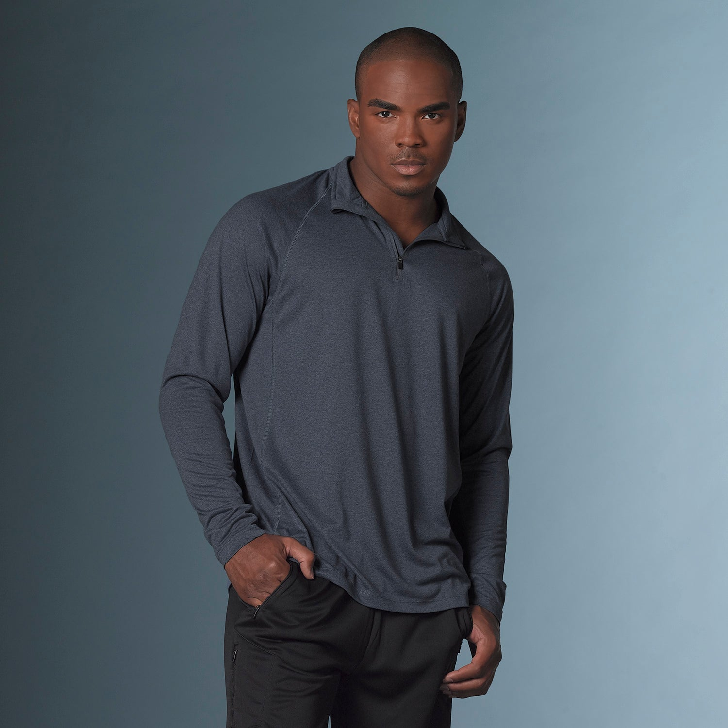 18424 - Heather Athletic Long Sleeve Quarter Zip