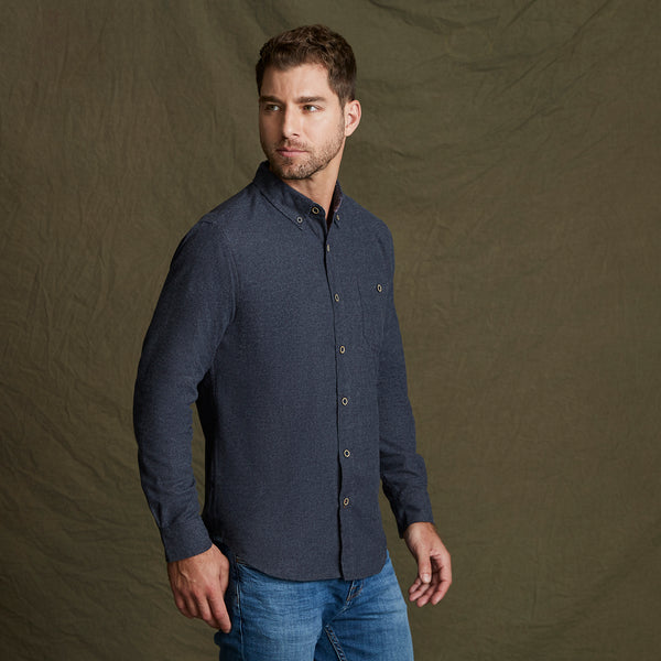 Weatherproof Vintage Brushed Flannel Solid Long Sleeve Shirt