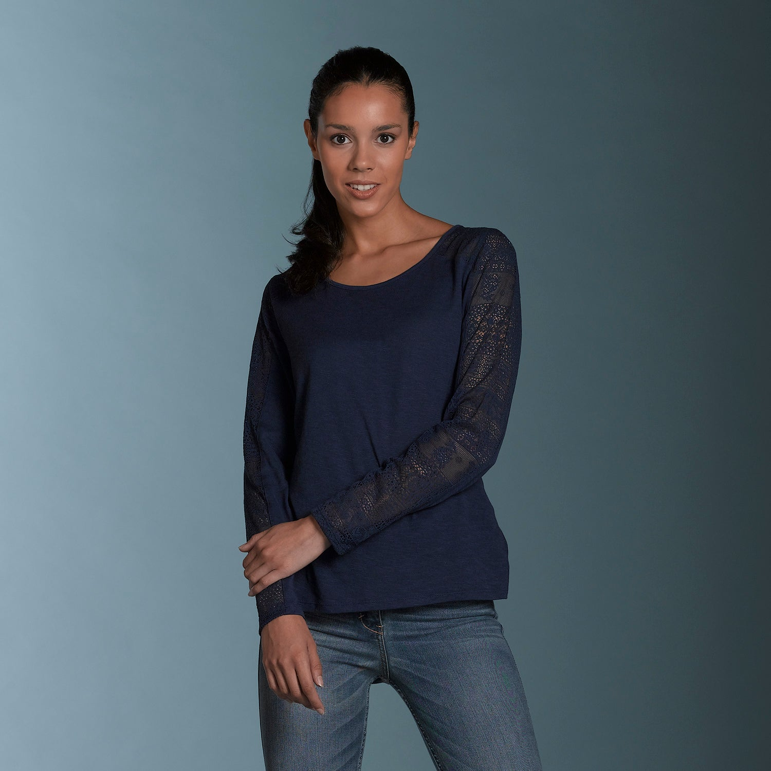 W17417 - Kristi Crochet Long Sleeve