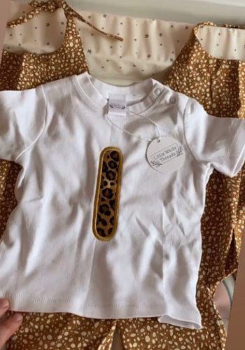 Leopard print initial tees (toddler)