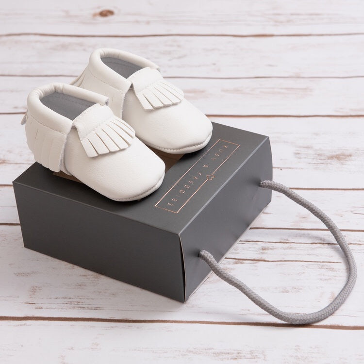 White Moccasins Baby Shoes