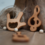 Rocker Teether: rock sign wooden teether
