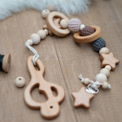 Composer Teether: music clef wooden teether