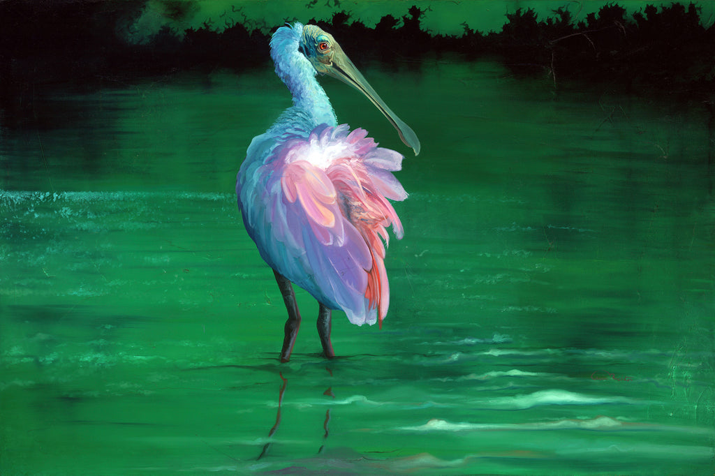 "Costal Bird Print with Roseate Spoonbill On The Flip Side - Giclee Print ( 12"" x 18"" )"