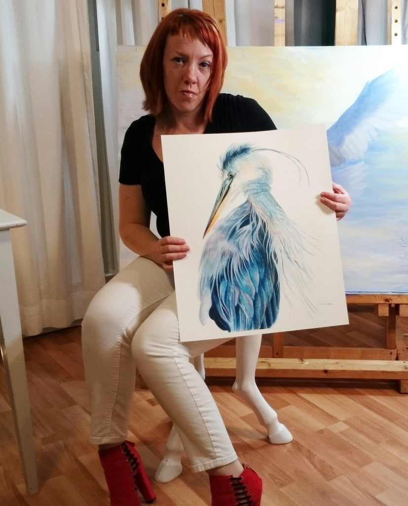 Wildlife Artist Allison Richter with Giclee of Blue Heron Artwork