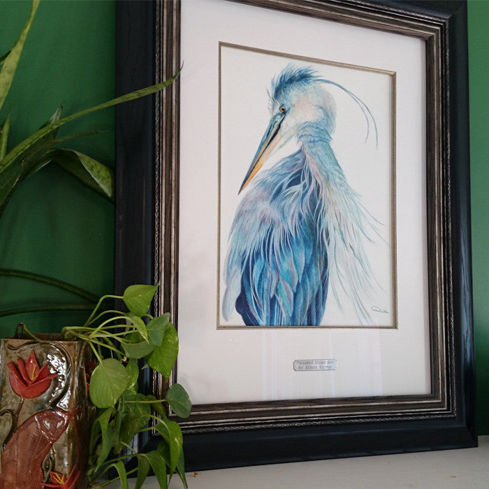 Blue Heron Artwork Print Inspired by Artist Trip to Merritt Island Florida
