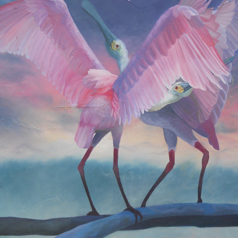 """Private Chatter"" - Roseate Spoonbills Art- Original Oil on Canvas ( 48""h x 36""w )"