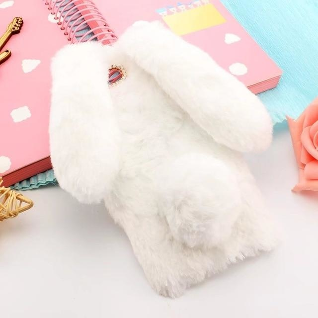 3D Cute Rabbit White - white / for iphone 8 plus