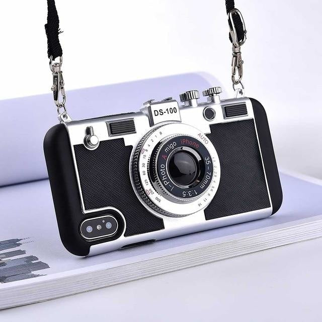 3D Retro Camera - Black / for iphone 8 plus