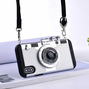 3D Retro Camera - Silver / for iphone 8 plus