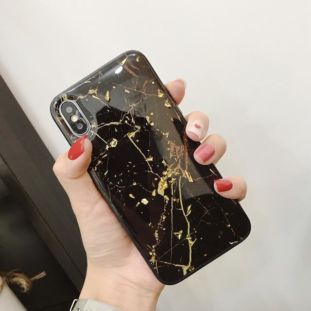 Black Gold Bling Marble - Black Gold Bling Marble / For iPhone 6s Plus