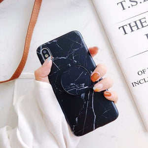 Black Marble with Pop Socket - For Samsung S7 edge / A With Holder