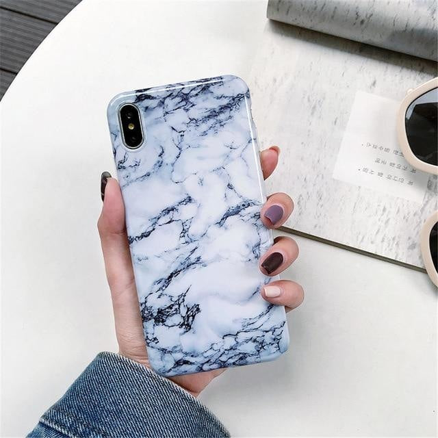 Dark Blue and White Marble - For iphone 6 6S / F3