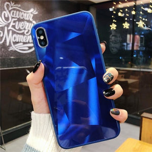 Diamond Mirror Dark Blue - For iphone 6 6s / Blue